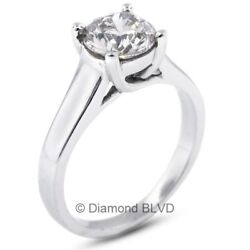 1.53 CT DI1Ex Round AGI Earth Mined Diamond 14KW Trellis Engagement Ring 4.5gr