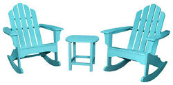 Hanover - All-Weather 3-Piece Rocking Adirondack Patio Set - Aruba Blue
