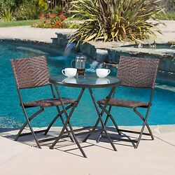 Patio Table And Chairs Outdoor Bistro Iron Wicker Set Furniture Garden Yard New