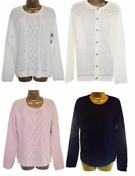 Navy Blue White Pink Button Back Summer Cable Knit Jumper Sweater