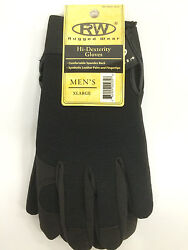 Rugged Wear Mechanics Gloves Leather Syn Palm and Fingers Are Spandex Black $6.95