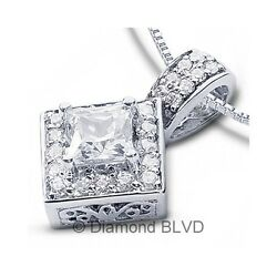 2.22 CT FSI2Ex Princess Earth Mined Diamonds Platinum Prong Halo Pendant 7.3gr