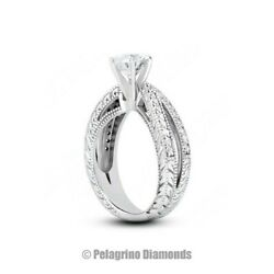2.09ct H-I1 Exc Round Natural Diamonds 14kw Gold Split Shank Engraved Ring 6.6mm