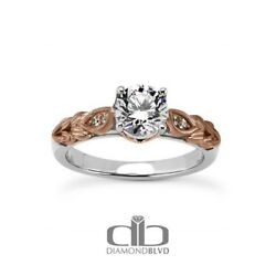 1.16ct ESI1Ex Round Earth Mined Diamonds 14K Leaves Engraved Accents Ring 5.3g