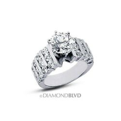 2.29 CT HVS2Ex Round Earth Mined Diamonds 18K Wide Band Engagement Ring 19.7gr