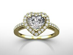 1.50 ct HEART CUT DSI1 DIAMOND SOLITAIRE ENGAGEMENT RING CLARITY ENHANCED