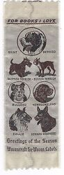 Vintage For Books I Love Cloth Dog Bookmark Wovencraft for Woven Labels $4.95