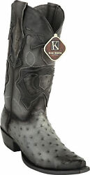 KING EXOTIC GRAY SNIP TOE GENUINE OSTRICH WESTERN COWBOY BOOT EE 94RD0338 $359.99