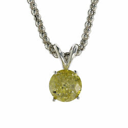 1.50 CT Yellow Diamond Solitaire Pendant In 14K White Gold With Chain
