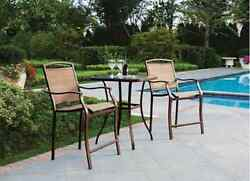Outdoor Patio Furniture Set 3pc Bistro Bar Height Chairs Square Glass Top Table