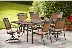 Niles Park 7-Piece Sling Patio Dining Table Chairs Set Outdoor Bronze Vintage