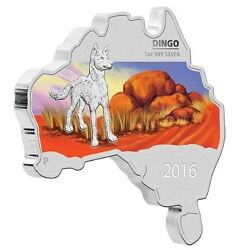 Australia MAP SHAPED COIN SERIES 2016 Dingo 1 OZ SILVER proof COIN $73.99