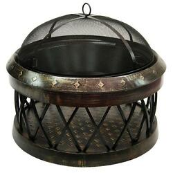 LANDMANN Bartow 33 Inch Oudoor Fire Pit Steel Round Base Removable Fire Bowl