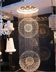 H87quot; x W32quot; Modern Contemporary Lamp 2 Sphere Rain Drop Clear K9 Chandelier $648.00