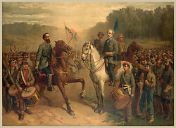 Civil War Paintings - Last Meeting Gen Lee & Jackson - Fine Art Canvas Print New