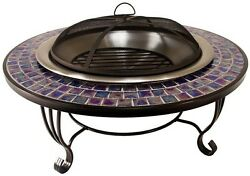 Fire Pit Blue Glass Mosaic Tile Large Table Ledge Stainless Steel 30 in. Bowl