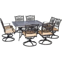 Hanover - Traditions 9-Piece Dinning Set with Swivel Chairs Outdoor Furniture...