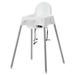 IKEA Baby Highchair With Safety Strap White Plastic High Chair ANTILOP