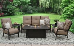 OUTDOOR PATIO 6PC SOFA 2-CLUB CHAIRS 2-END TABLES 34X58 RECTANGLE FIREPIT SERI