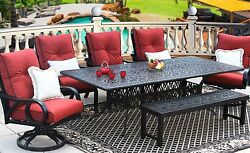 OUTDOOR PATIO 7PC DINING SET 44X102 RECT EXTEND SERIES 2000