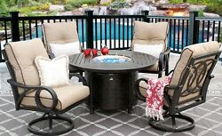 OUTDOOR PATIO 5PC DINING SET 50 INCH ROUND FIRETABLE SERIES 4000