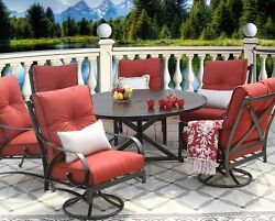 OUTDOOR PATIO 7 PC DINING SET 60 INCH ROUND TABLE SERIES 4000