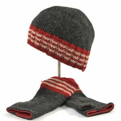 Irish Beanie Cap & Handwarmers Set - Gray & Red Fingerless Gloves EKRBPK925CH