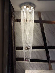 H47quot; x W15.7quot; Modern Contemporary Lamp Waterfall Raindrop Clear K9 Chandelier $328.00