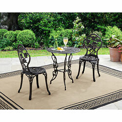 NEW Rose 3 Piece Cast Iron Bistro Patio Set Outdoor Table Chairs Furniture Yard