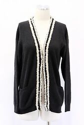 NWT$2875 Brunello Cucinelli Womens 100% Cashmere Sequin Stripe Ribbed Cardigan M
