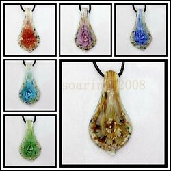 6 Pcs Lovely Love Crystal Murano art glass beaded leather pendant necklace $8.46