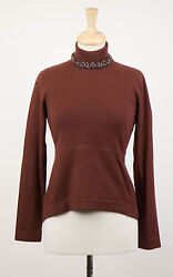 NWT BRUNELLO CUCINELLI Woman's Brown Cashmere Turtleneck Sweater Size S $2965