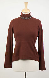 NWT BRUNELLO CUCINELLI Woman's Brown Cashmere Turtleneck Sweater Size L $2965