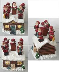 Christmas Santa Claus 5 Knife Spreaders in Decorative Log Cabin