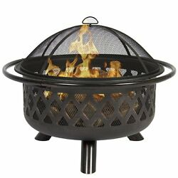 Fire Pit Wood Burning Fireplace Patio Backyard Outdoor Heater Steel Bowl Firepit