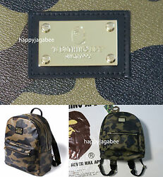 A BATHING APE Goods Men's 1ST CAMO BACKPACK Green Leather Day Pack New