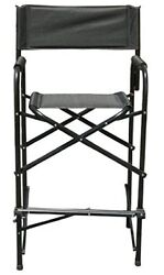 Tall Directors Chair Black Aluminum Frame Folding Chair Garden Camping Chairs
