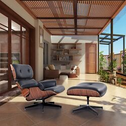 Costway Modern Wood Eames Style Lounge Chair and Ottoman Set Armchair