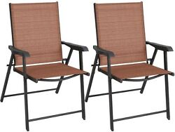 Set of 2 Outdoor Patio Folding Chairs Furniture Camping Deck Garden Pool Beach