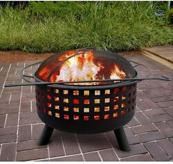 Outdoor Fireplace Patio Pit Wood Burning Heater Porch Deck Round Black Kit