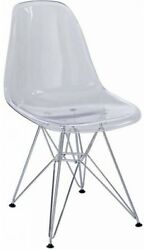 Dining Side Chair Kitchen New Plastic Polycarbonate Furniture Home Clear