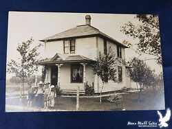 Large Square House 5 Children Mama at Door Fenced Yard Fruit Trees Barn RPPC $7.00