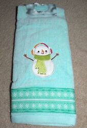 SNOWMAN wEarmuffs HAND TOWEL NWT-St. Nicholas Square-GreenAqua Blue MSRP$9.99