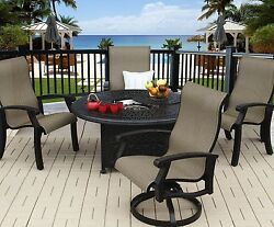 BARBADOS SLING OUTDOOR PATIO 5PC FIRE PIT SET WITH 52