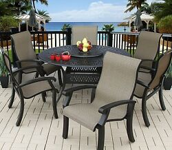 OUTDOOR PATIO 6 PERSON DINING SET WITH 60