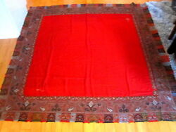 Antique HAND EMBROIDERED KASHMIR FINE RED WOOL INDIAN SHAWL 72