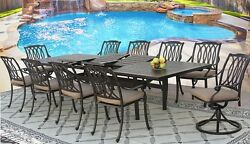 SAN MARCOS CAST ALUMINUM OUTDOOR PATIO 11PC DINING SET 44X130 RECT EXTEND TABLE