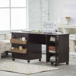 Portable Sewing Table Folding Craft Center Machine Rolling Desk Cabinet Storage