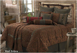 Rustic Western Red Zebra - 5 Pc Full Comforter Bedding Set - Great for Cabin!