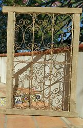 VINTAGE ANTIQUE WINDOW GUARD W WOOD FRAME WROUGHT IRON FENCE GATE